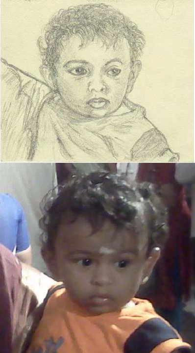 My sketch of Buttu with the reference photo